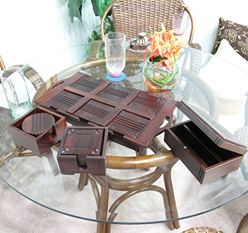 Rare Elegant Sono Keling Indian Rosewood Coasters Tray 4 Piece Gift Set