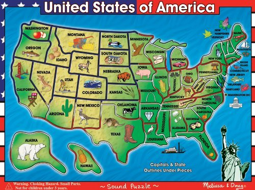 Picture of Melissa & Doug USA Map Sound Wooden Puzzle by Melissa and (B001U278M0) (Pegged Puzzles)