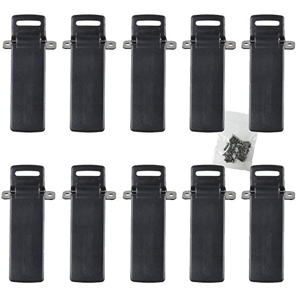 KENMAX Two Way Radio Handheld Belt Clip with Screws for Baofeng UV-5R UV-5RA UV-5RB UV-5RC 5RD 5RE (10 Packs) (Color: Pack of 10)