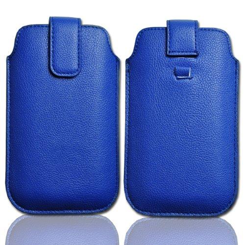 Handy Tasche Einschubtasche Etui Hülle Schutz Kunstleder blau / blue W22 Gr.3 für Samsung C3312 Rex60 / S5222R Rex80 / Galaxy Young S6310 / Galaxy Young Duos S6312 / Galaxy Pocket Plus S5301 / Samsung Galaxy Pocket Neo S5310 / Alcatel OT 903D / Alcatel OT Star 6010D