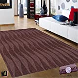 Espresso Living Room Contemporary Modern Wool Area Rug, Handcrafted Waves 5' by 7-Feet