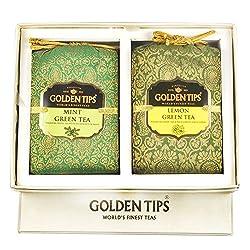 Golden Tips Diwali Gift Box Pack Pure Mint Green and Lemon Green Tea - Brocade Bag, 2X100g