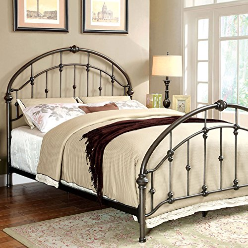 Carta Contemporary Vintage Style Brushed Bronze Finish Cal King Size Bed Frame Set