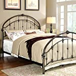 Carta Contemporary Vintage Style Brushed Bronze Finish Full Size Bed Frame Set