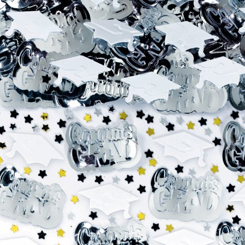 Graduation White Metallic Confetti 2 1/2oz