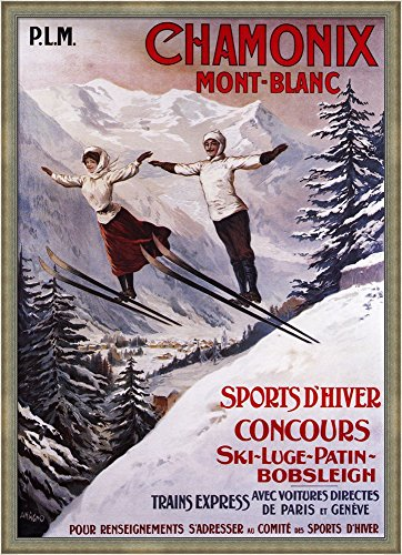 Chamonix Mont-Blanc Sports by Lantern Press Framed Art Print Wall Picture, Silver Scoop Frame with Hanging Cleat, 39 x 54 inches (54 X 39 Frame compare prices)