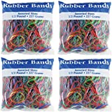 BAZIC Assorted Dimensions 227g/0.5 lbs. Rubber Bands, Multi Color (465-48P) 4-Pack