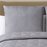 Echelon Home Monterey Quilted Cotton Shams, Euro, Grey