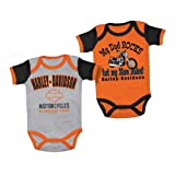 Harley-Davidson Baby Boys' Mom Rules 2 Creeper Set, Black/Orange 3050553 (3/6M)