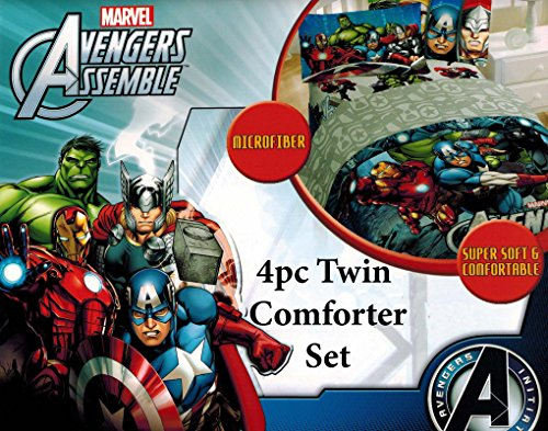 Marvel Avengers Assemble Twin Classic Halo Reversible Comforter and Sheet Set 4 piece 100% Polyester Microfiber