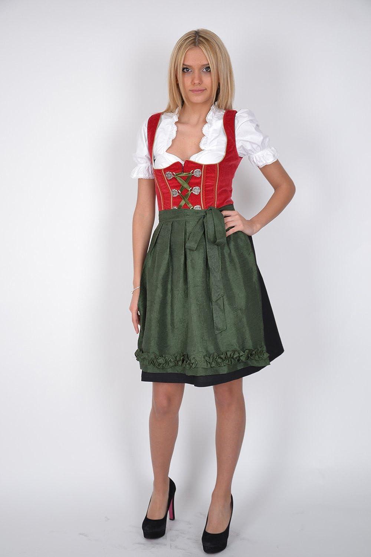 Dirndl Trachtenkleid 3tl. Rot Grün jetzt bestellen