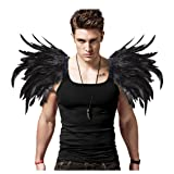 L'vow Men' Gothic Real Feather Epaulet Shrug Shoulder Epaulette Board for Halloween Pack of 2 (Black) (Color: Black, Tamaño: One Size)