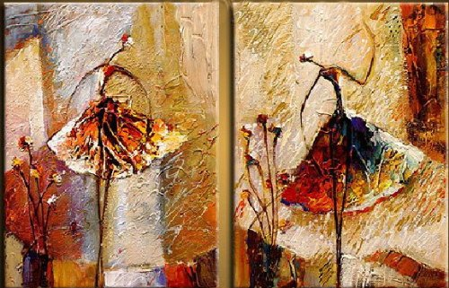 Santin Art-Ballerina Dancer-Modern Canvas Art Wall Decor-Abstract Oil Painting Wall Art