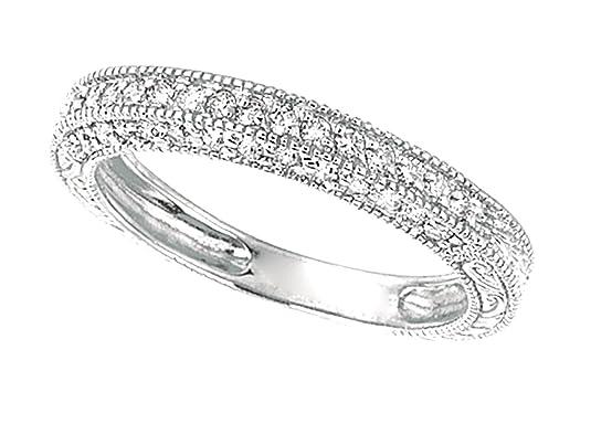 0.45 carat Round brilliant diamond wedding ring band white gold 14K