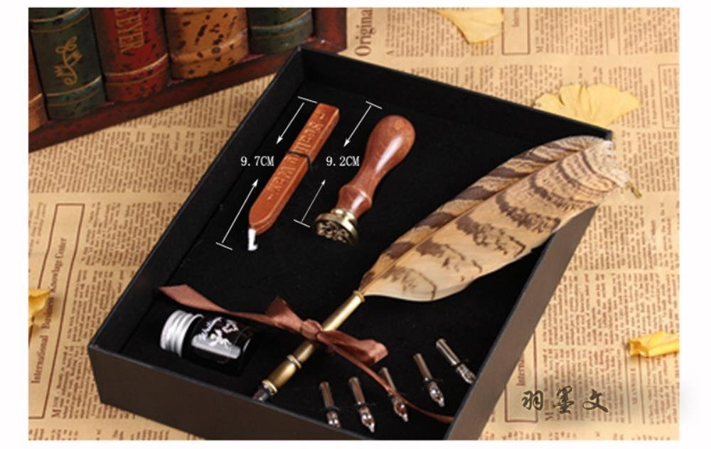 PASSION juneTree Calligraphy Pen Feather Writing Quill pens Antique Owl Feather Metal Nibbed Pen 3