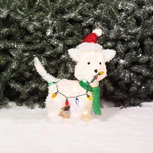celebrate the season with this holiday time 24 fluffy dog christmas light sculpture - Dog Christmas Lights