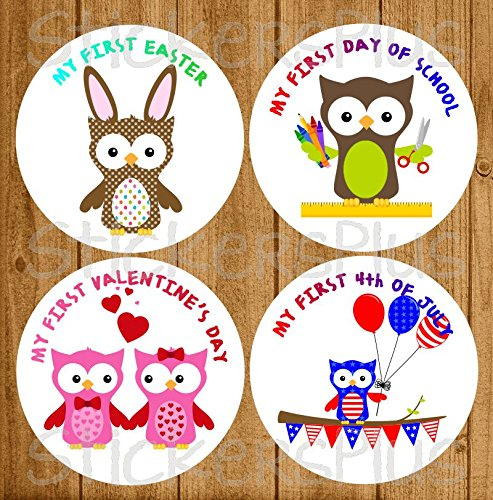 Neutral Baby Girl or Boy First Holiday Stickers Baby Milestone Stickers Owls First Christmas First Day of School Halloween Easter Thanksgiving St. Patrick's Day Valentine's Day Easter