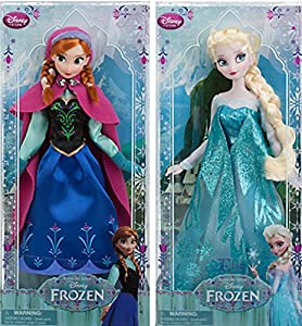 Disney Frozen Sisters Classic Doll Set Featuring 12 Inch Dolls of Princess Anna and Elsa