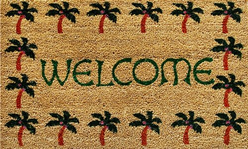 Home & More 12040 Palm Tree Border Welcome Doormat front-95673