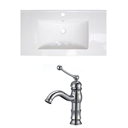"Jade Bath JB-15664 32"" W x 18"" D Ceramic Top Set with Single Hole CUPC Faucet, White"