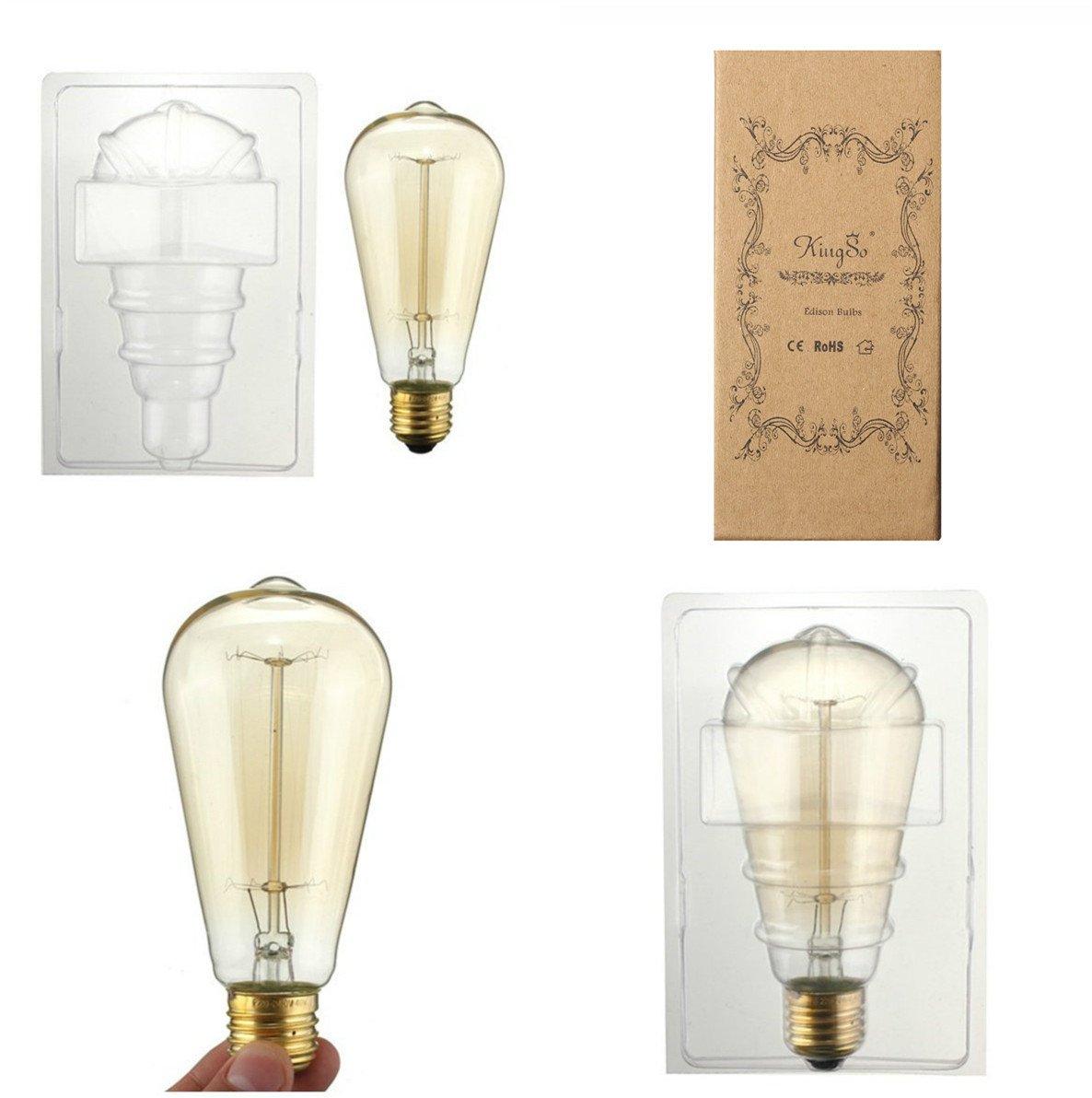 KINGSO Vintage Edison Bulbs 60W Squirrel Cage Filament Incandescent Antique Light Bulb for Home Light Fixtures E27 E26 Base ST64 110V - 6 Pack