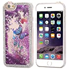5s Case, Iphone 5 5s Case -Floveme® 3D Handmade Fashion Sparkly Glitter Quicksand and Lovely Butterfly Liquid Case with Shiny Bling Crystal Diamond Rhinestone Design Clear PC Cover Case for iPhone 5 5s (Purple)