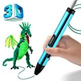 BIHUO 3D Printing Pen, 3D Doodle Pen with OLED Display, 3D Drawing Pencil with Free PLA Filament For Kids Art & Craft Making, DIY, Drawing etc (Blue)