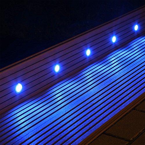 set 10 led bodenlampen boden einbaustrahler f r innen au en terrasse garten blau. Black Bedroom Furniture Sets. Home Design Ideas