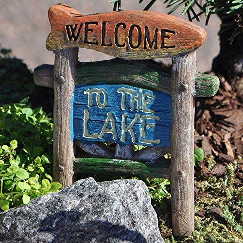 Miniature Fairy Garden Lakeside Welcome Sign