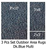 Indoor-Outdoor Cadet Blue, 3 Piece Set, Patio Rug's (8x10 Area Rug, 3x8 Runner, 2x3 Mat)