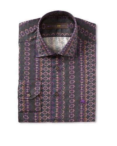 Etro Men's Spread Collar Pattern Long Sleeve Shirt