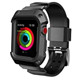 For Apple Watch Band, UMTELE Rugged Protective Case with Bands for Apple Watch Series 3/2/1 42mm Black (Color: Black - 42)