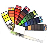 42 Assorted Colors,Fan-PAN Portable Watercolor Paint Set, Foldable Pocket Artist Grade Professional Travel Watercolor Paint Kit/Paint Brush, Perfect for Creativity Field Sketch & Outdoor Painting (Color: 42 Colors)