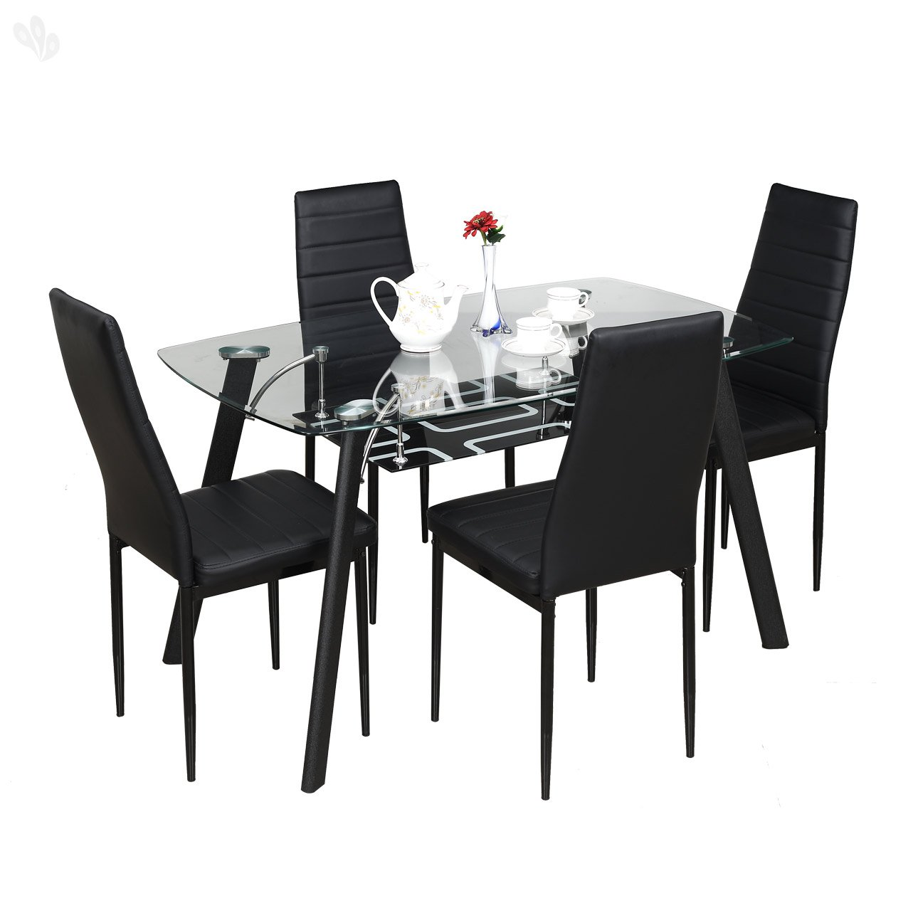 Royal oak milan four seater dining table set black for Dining table chairs