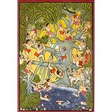Jala-Krida: Krishna's Water-Sport - Water Color Painting On Paper - Artist: Kailash Raj