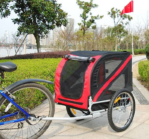 Frugah New Deluxe Pet DOG Bike Bicycle Trailer PET Carrier Red Black