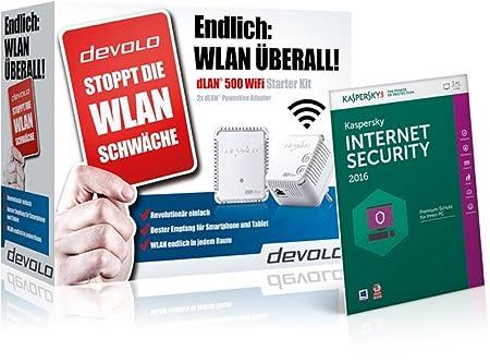 Devolo dLAN 500Kit de démarrage (500Mbit/s, 2adaptateurs en kit, 1x port LAN, Powerline Répéteur Wi-Fi, Wi-Fi, WiFi Move, compact Boîtier, Kaspersky Internet Security 2015inclus Blanc