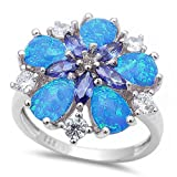 Lab created Blue Opal, Simulated Tanzanite & Cz Flower .925 Sterling Silver Ring sizes 6-10