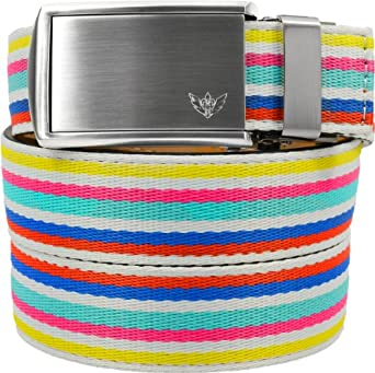 SlideBelts Canvas Belts - Custom Fit (Birthday Cake with Winged Silver Buckle)