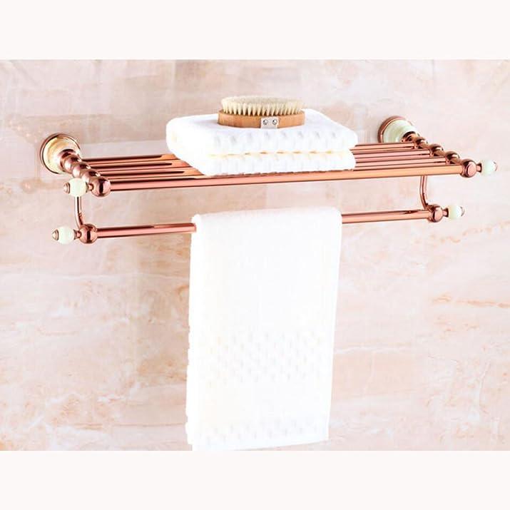 CHENGXIAOXUAN Continentale Rame Portasciugamani Doppio Oro Rosa Cremagliere Bagno WC Giada Verde Portasciugamani Tre Dimensioni,40cm