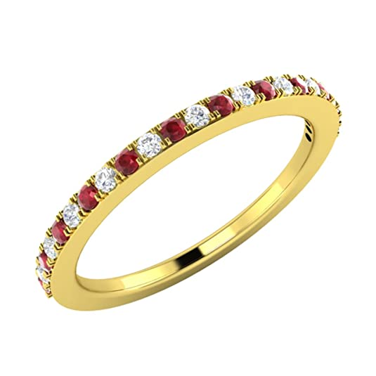 0.23 Ct Natural Diamond and Natural Ruby Eternity Wedding Band / Anniversary Ring in 18ct Yellow Gold