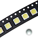 Chanzon 100 pcs 5050 White 6000K SMD LED Diode Lights (Surface Mount 5.0mm x 5.0mm 3 Chips/LED PLCC 6 pins 60mA 15-18LM) Super Bright Lighting Bulb Lamps Electronics Components Light Emitting Diodes (Color: A) White (100pcs))