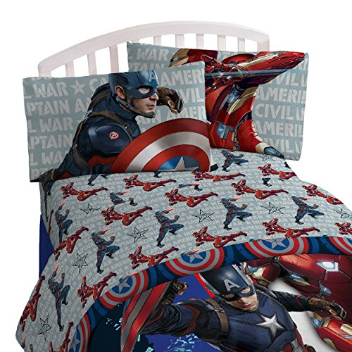Marvel Captain America 'Civil War Lightning' 4 Piece Twin Bed In A Bag (Captain America Trash Can compare prices)