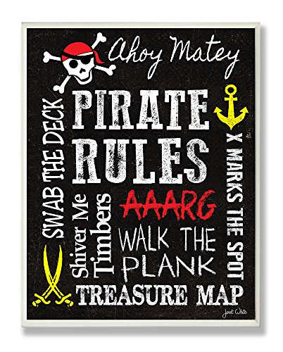 The Kids Room by Stupell Pirate Rules Rectangle Wall Plaque