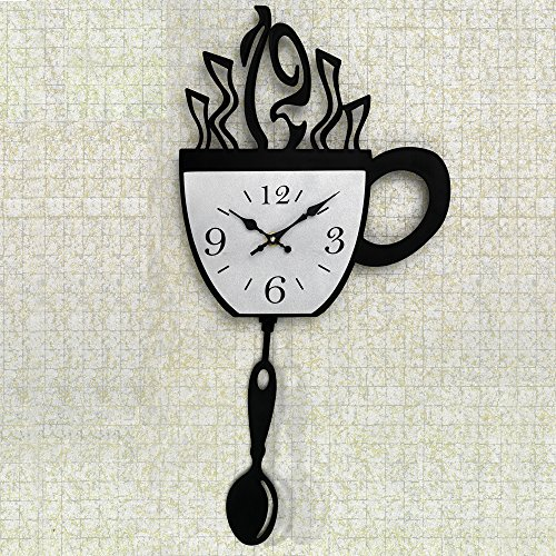 Bits and Pieces - Contemporary Kitchen Coffee Cup Clock - Novelty Wall Clock Features A Black Coffee Cup Design - Kitchen Décor, Unique Fun Gift (Coffee Kitchen Clock compare prices)