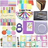 Fujifilm Instax Mini 8 Instant Camera Accessory Bundles Set(Fujifilm instax mini 8 case bag/ Instax Mini Book Album/ Mini 8 close-up lens(self-portrait mirror)/ colorful decor sticker borders/ colorful wall decor hanging frame/DIY Photo Album/ Ink Card Making Pens/ Creative Craft Scissors/ Corner stickers) Set1 (Purple)
