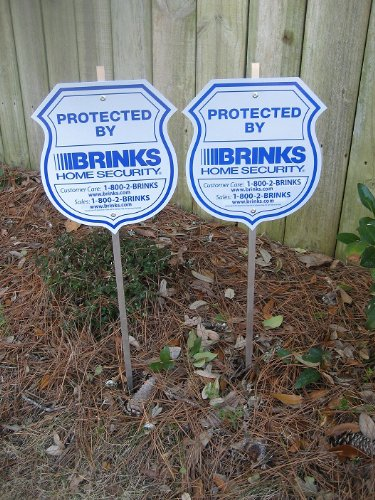 2 New Brinks Home Security Alarm System Yard Signs & 8 Brinks Window Decal Stickers
