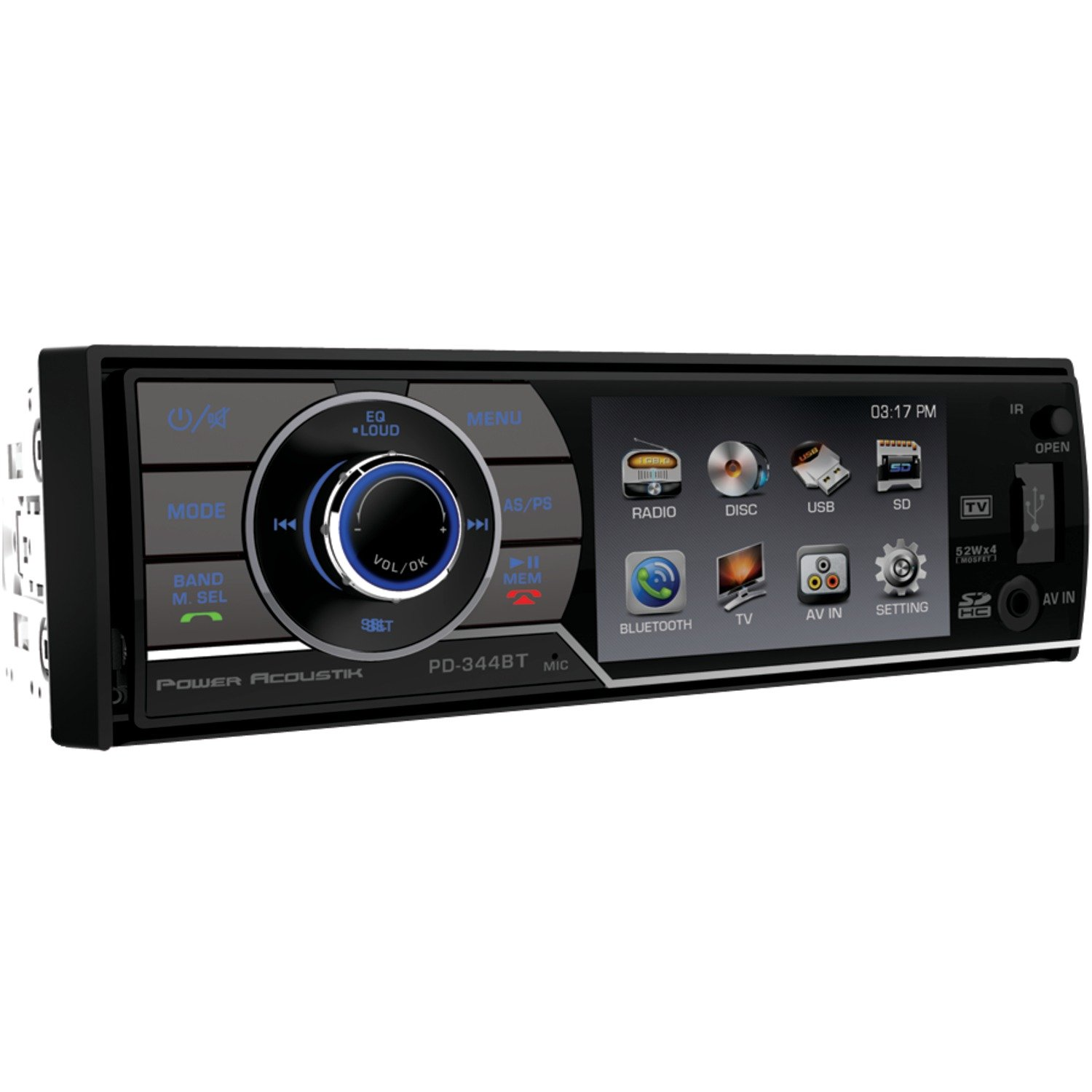 Amazon.com : POWER ACOUSTIK PD-344B In-Dash Single DIN DVD AM/FM Receiver with 3.4-Inch LCD HD Monitor, Bluetooth and USB/SD Input