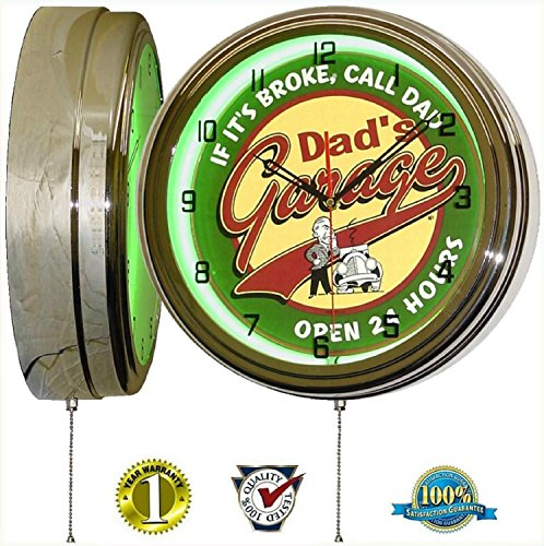 "DADS GARAGE 15"" NEON LIGHT WALL CLOCK MAN CAVE WORKSHOP TIN METAL SIGN GREEN"