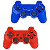Saloke Wireless Gaming Controller for Ps2 Double Shock (Blue and Red) (Color: Blue and Red)